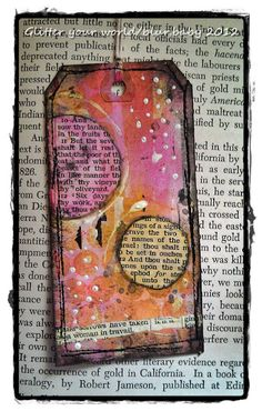 DIY Gifts & Wrap Ideas 2017 / 2018 Tag Art Mixed Media…or make them smaller with different designs for book marks. Atc Cards, Card Tags, Altered Books, Altered Art, Birth Month Colors, Art Journal Pages, Art Journaling, Paper Tags, Art Journal Inspiration