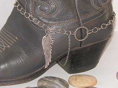 Western Boot Bracelet with Silver Eagle Wing, Boot Chain for Guys or Gals