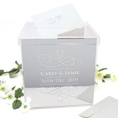 Personalised Mirror Silver Acrylic Printed Wedding Wishing Well - Wedding Decor - Card Box - Memory Box Personalized Wedding, Personalized Gifts, Wishing Well Wedding, Wedding Table, Wedding Day, Gift Table, Free Wedding, Groomsman Gifts, Clear Acrylic