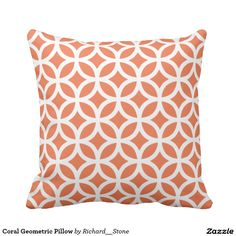 Shop Coral Geometric Pillow created by Richard__Stone. Geometric Cushions, Geometric Throws, Geometric Pillow, Green Cushions, Scatter Cushions, Coral Throw Pillows, Decorative Throws, Custom Pillows, Cool Stuff