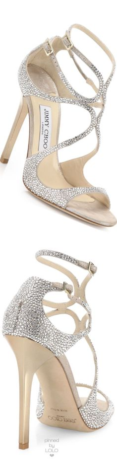 Jimmy Choo Memento Crystalized Suede Strappy Sandals   LOLO❤︎