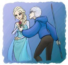 Jack giving Elsa a rose