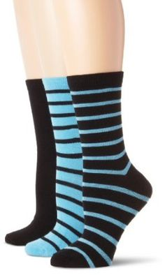 Steve Madden Legwear Women's 3 Pack Fashion And Solid Crew, Turquoise, 9-11 Steve Madden. $11.00