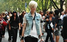 The hair, the denim vest, the bracelets, the black denim and the belt! Kate Lanphear is a spot-on inspiration for me whatever she wears!