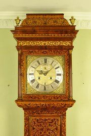 This is a fine and rare marquetry long case of month duration by Michael Bird of London circa 1700 . 12 inch square brass chapter ring and spandrel dial. The magnificent case has a carcase of English oak and veneered in walnut and arabesque marquetry London Clock, Clock Movements, Mantle Clock, Grandfather Clock, Vintage Keys, Antiques For Sale, Wooden Crates, Marquetry, Old Master