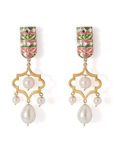 Buy Designer & Fashionable Pearl Drop Dangler Earrings With Pink-Green Enamel Designing . We have a wide range of traditional, modern and handmade Danglers Earrings Online