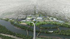 OMA unveils two masterplan concepts for RFK campus in washington DC Robert Kennedy, Washington Dc, Campus 2, Plan Maestro, Centre Island, Sport Park, Sports Stadium, World Of Tomorrow, Masterplan