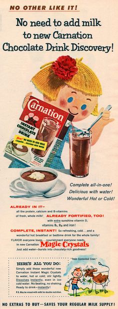 carnation chocolate drink 1955 | Flickr - Photo Sharing!