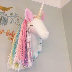 Unicorn Head; faux taxidermy; pastel unicorn; unicorn princess by MainsailStudio on Etsy https://www.etsy.com/listing/491194099/unicorn-head-faux-taxidermy-pastel