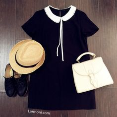 Lace Peter Pan Collar Shift Dress like the outfit, but not the hat