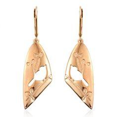 14K Gold Overlay Sterling Silver Birds Lever Back Earrings, Silver wt  4.30 Gms. | TJC