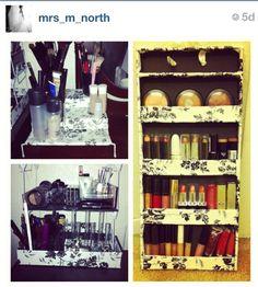 DIY makeup display and storage ideas for lipsticks,eyeshadows, etc.