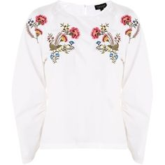 Topshop Floral Embroidered Poplin Top (£12) ❤ liked on Polyvore featuring tops, white, topshop tops, white bell sleeve top, white flared sleeve top, poplin top and flower embroidered top