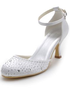 White Almond Toe Rhinestone Ankle Strap Spool Heel Satin Fashion Bridal Shoes