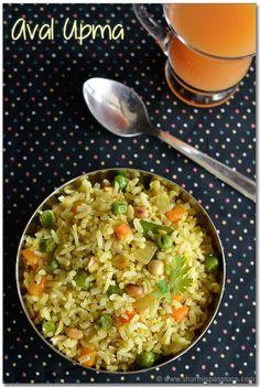 Aval Upma Recipe - Vegetable Poha Upma Recipe | Sharmis Passions