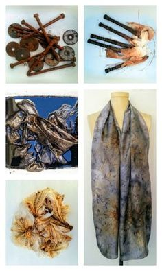 This beautiful silk scarf has been dyed using rusty screws, a shibori binding technique, and Earl Grey tea. Click for the tutorial.