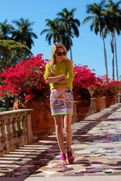 Skirt: Clover Canyon. Shoes: Zara. Sweater: Equipment c/o. Sunglasses: Karen Walker 'Super Duper'. Lips: NARS ' Schiap'. Jewelry: JCrew, BaubleBar, Michele, Pomellato, David Yurman.