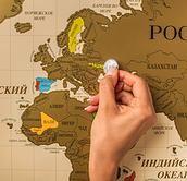 Travel Map - Скретч карта мира | Подарок для любителей путешествий Grid