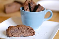 Double Chocolate Mocha Biscotti   2 ¼ cups blanched almond flour  ¼ cup cacao powder  2 tablespoons arrowroot powder  1 tablespoon organic decaf coffee, espresso grind  ¼ teaspoon celtic sea salt  ½ teaspoon baking soda  ½ cup agave nectar or honey  ½ cup chocolate drops