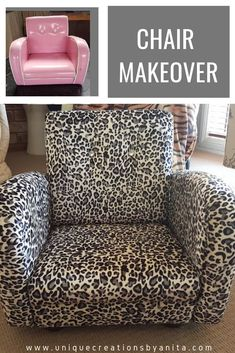 Toddler Chair get a makeover. Give that toy room a nice look with a reupholstered chair in animal print fabric. Treatment Projects Care Design home decor Playroom Furniture, Diy Furniture Plans, Kids Furniture, Repurposed Furniture, Furniture Projects, Wood Home Decor, Diy Home Decor, Room Decor, Toddler Chair