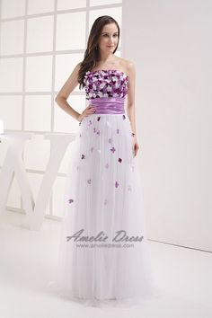 A-Line Empire Strapless Floor-Length Charmeuse Evening Dress With Flowers And Pleats