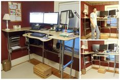 Upcycle of my old computer desk into a standing desk  #upcycle #standingdesk #pipedesk
