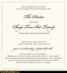 ~A Mother In Law's Wedding Invitation~ Too %$#@ing funny!