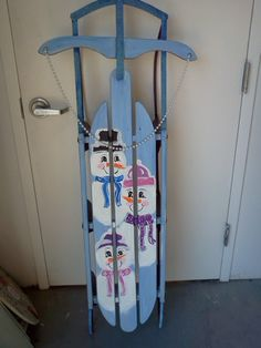 Vintage Sled with Hand Painted Snowmen!!