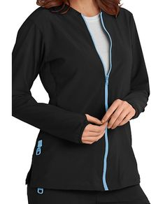 Yup, there's more in store -- it's jackets galore! Try on this sporty scrub jacket by Carhartt today! Scrub Jackets, Work Looks, Carhartt, Scrubs, Shop Now, Sporty, Zip, Knitting, Tricot