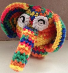 Crochet a rainbow elephant. Check my website www.hobsies.weebly.com or https://www.facebook.com/HobsiesHaaksels?ref=hl