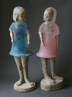made by: Christina Bothwell , 'Double Violet' - Cast glass & paint, dimensions: 29 x 22 x 9 Inches, made in 2014
