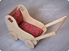 Купить Натура коляска (миди) - деревянная колясочка для кукол - бежевый, коляска, купить колясочку