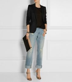 J Brand Sonny Distressed Mid-Rise Boyfriend Jeans // Light wash ripped denim