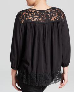 Karen Kane Plus Size Black Lace Inset Top | Bloomingdale's #Plus_Size #Black…
