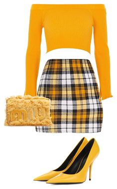 """Untitled #223"" by sorornasrin on Polyvore featuring River Island, Miu Miu, Balenciaga, PopsOfYellow and NYFWYellow"