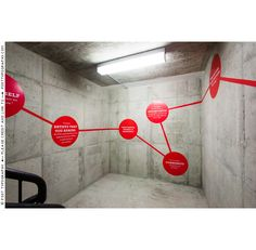 Stairwell and environmental graphics for MICA Career Development. Red dots, quotes, wall vinyl, super graphics, design, branding, wayfinding (4)