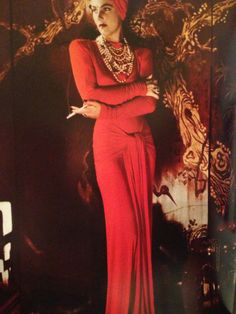 Diana Vreeland by George Hoyningen Huene Vogue Photographers, Diana Vreeland, Costume Institute, Iconic Women, Beautiful Gowns, Fashion Dresses, Women's Fashion, Lady In Red, Vintage Dresses