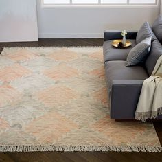 Diamond Steps Wool Dhurrie - Orange Sunflower Rug - West Elm