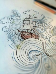 Pirate Mermaid Tattoo, Nautical Themed Tattoos, Waves Sketch, Pirate Ship Drawing, Sketch Ink, Drawing Sketches, Sailor Illustration, Tattoo Ship, Nautical Drawing