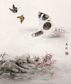 """""""Kitten and Butterflies"""" par Mi Chunmao"""