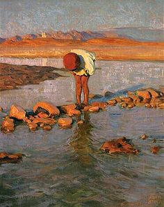 Peinture d'Algérie :Peintre Polonais Adam Styka (1890 - 1959) ,Huile sur panneau, Titre : Jeune Algérienne dans l'oued .