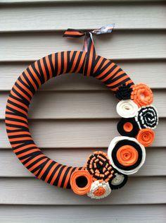 Halloween Wreath - Black and Orange Striped Fabric with Felt Flowers - Halloween Wreath - Fall Wreath - Fabric  Wreath - Felt Flower Wreath by stringnthings on Etsy https://www.etsy.com/listing/161481009/halloween-wreath-black-and-orange