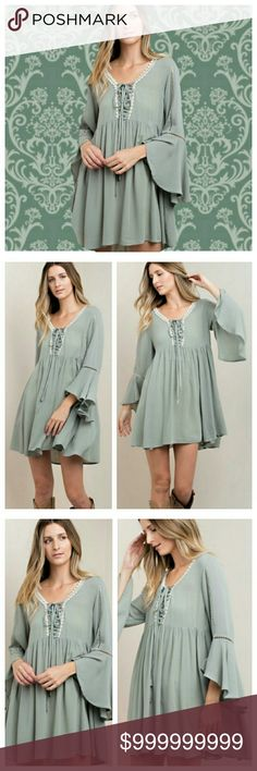COMING SOON! Sage Bell Sleeved Baby Doll Dress Perfection. Beautiful fabric. Easy flowwy flawless dress. Kori Dresses