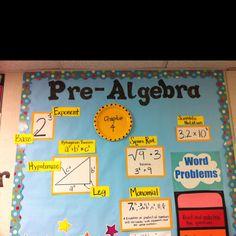 Pre-Algebra word wall (picture only) Maths Algebra, Math Literacy, Math Teacher, Math Education, Teaching Math, Middle School Classroom, Math Classroom, Classroom Ideas, High School