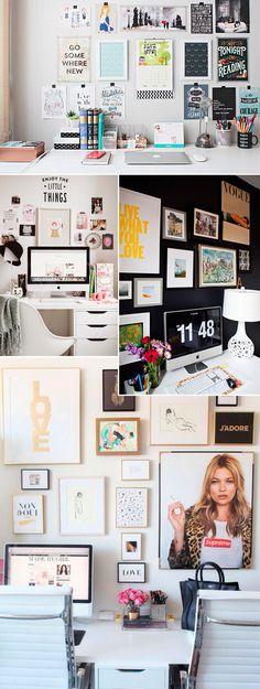 Decoração home office com quadros e posters na parede.