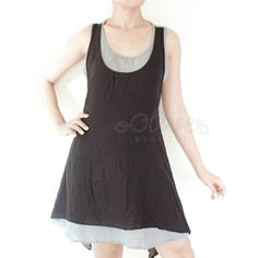 Tie-Back Sleeveless Round Neck Cotton Vest Mini Dress in Blue