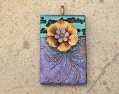 Mixed Media Pendant Brass Lavender Purple Black Blue Floral Art Bead