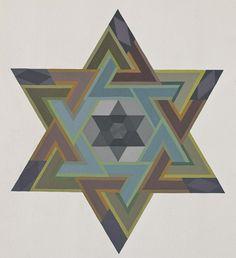 Mandala a forma di stella a sei punte formata da due triangoli equilateri.