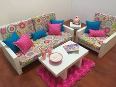 American Girl Doll Furniture. 18 Doll Furniture. By 4PeasCreations. Pink DotLiving  Room ... Part 88