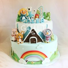 A remake of my Pororo cake I've made over a year ago. Much better looking figurines. Baby Birthday Cakes, Birthday Ideas, Cake Models, Little Cakes, Sugar Art, Edible Art, Custom Cakes, Cake Art, Cake Decorating